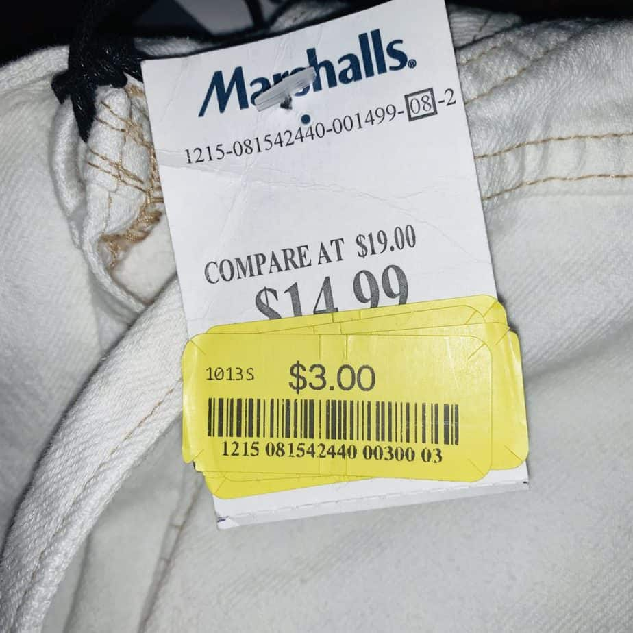 marshalls yellow tag example