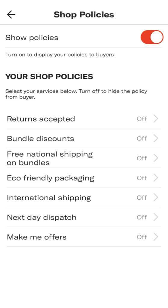 Depop shop policies
